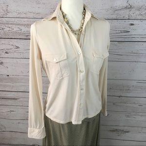 Bebe silk cream button up long sleeve knit shirt